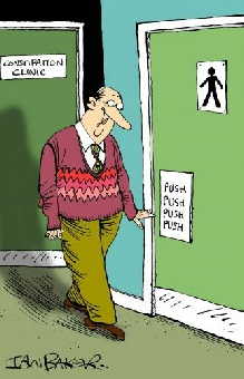 Cartoon  of constipation clinic