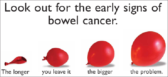 Look for signs of early bowel cancer. The longer you leave it the bigger the problem. Image shows expanding red balloons as analogy for bowel cancer becoming a bigger problem.