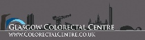 Glasgow Colorectal Centre logo against a silhouette of Glasgow city buildings and the river Clyde, Scotland