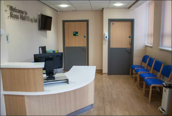 New Endoscopy Suite reception at BMI Ross Hall hospital, Glasgow