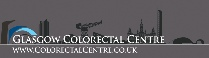 Picture of Glasgow skyline and river Clyde as a background against the Glasgow Colorectal Centre Logo