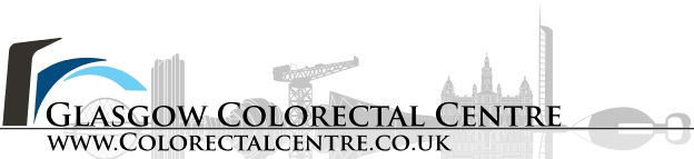 Glasgow Colorectal Centre logo with silhouette of Glasgow skyline including the SECC & Finnieston, reflected in the river Clyde